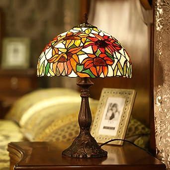 Qinqin Lampe Buntglas Bild Sonnenblume Lampe Style Schlafzimmer Nachttisch