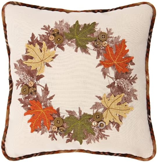 """Xia Home Fashions Maple Wreath Fall Decorative Pillow, 14 by 14"""""""