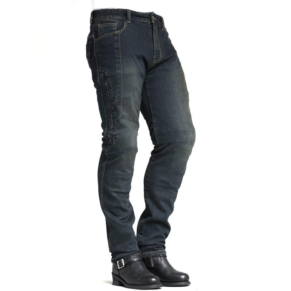 MAXLER JEAN Biker Jeans for men - Slim Straight Fit Motorcycle Riding Pants, 1617 Blue (Size 32)