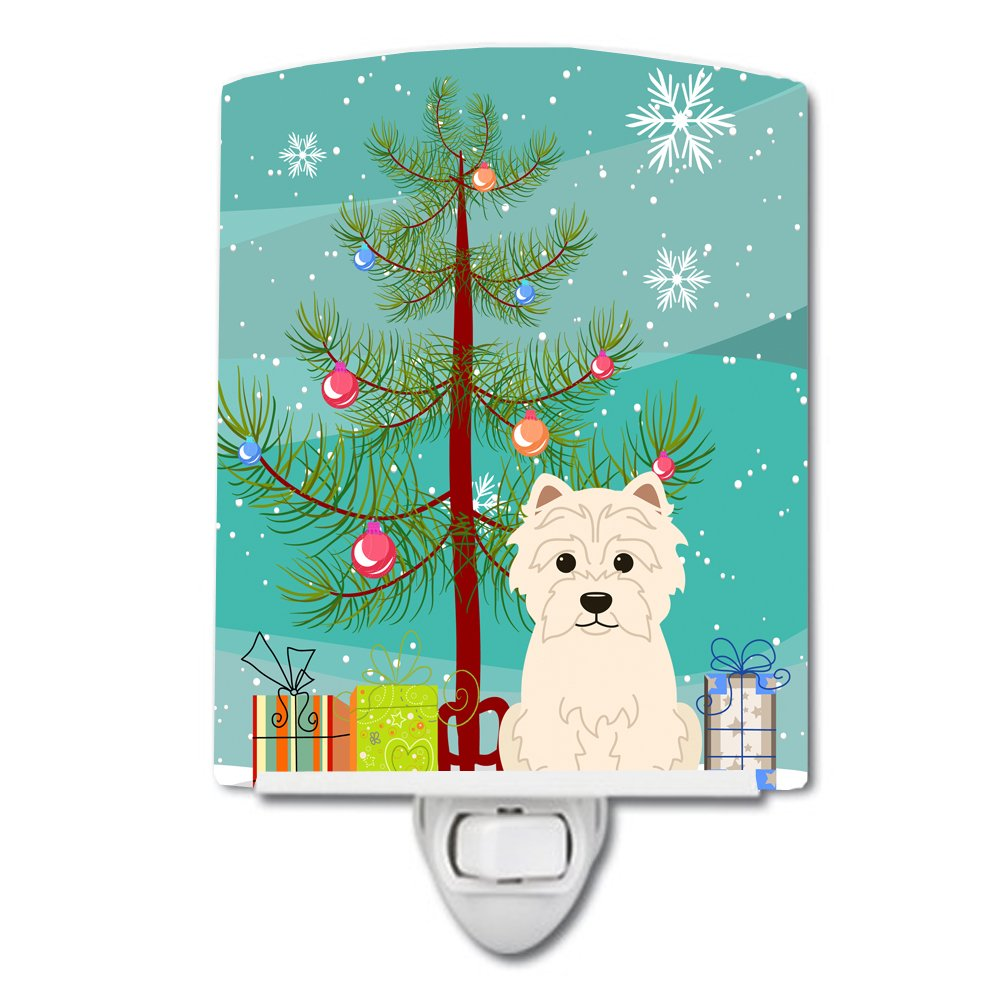 Carolines Treasures Merry Christmas Tree Westie Ceramic Night Light 6x4 Multicolor