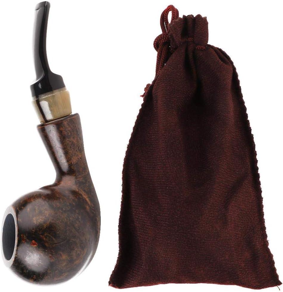 Furnoor Pipa de Fumar, Pipa de Fumar de Madera de Brezo Pipa de Tabaco con Filtro de núcleo de Carbono de 9 mm Regalo Artesanal(Negro Liso)