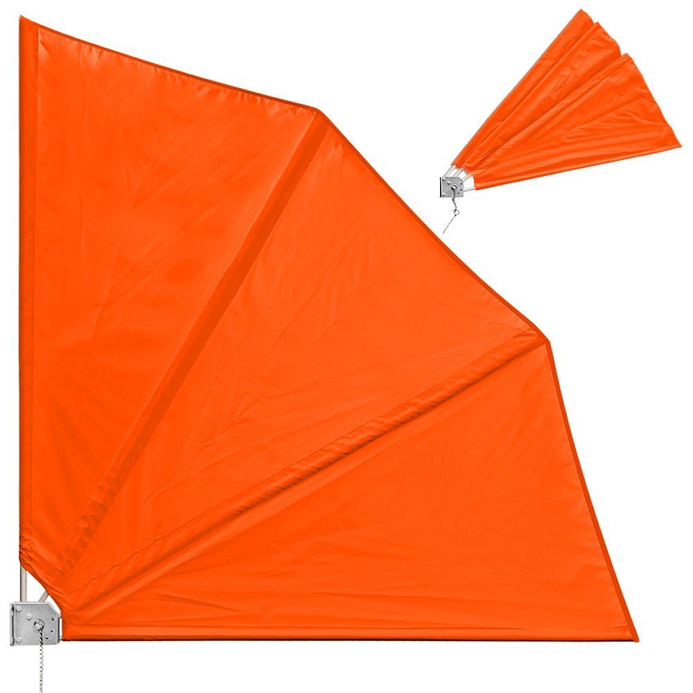 Balkonfächer klappbar mit Wandhalterung 140x140cm in orange