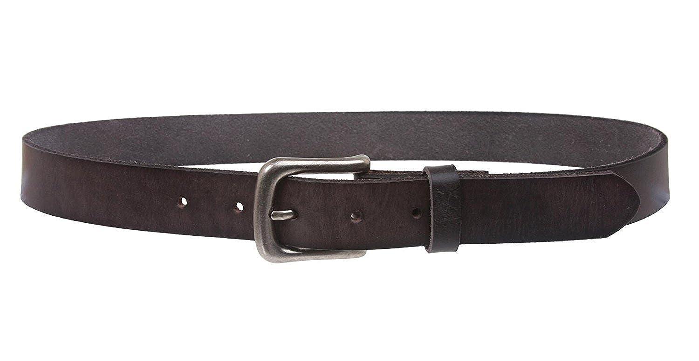 MONIQUE Men Antique Silver Buckle Snap On Oil Tanned Vintage Leather 29mm Belt