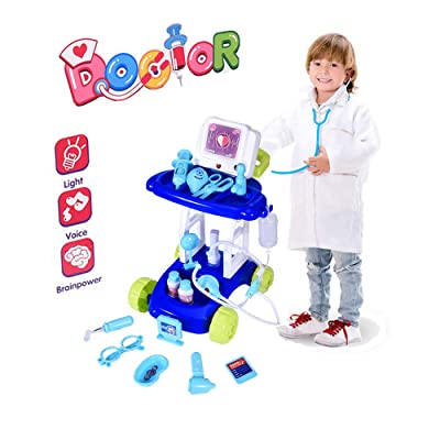 Wotryit Kids Doctor Kit Toy Medical Kits Pretend-n-Play Electric Simulation Medical Trolley Analog Scanner with Circulating Water Outlet for Kids, School Classroom, Easter Stuf: Clothing