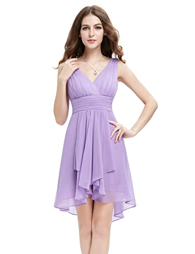 Ever Pretty V Neck Empire Waist Hi-Lo Bridesmaids Dress 03644
