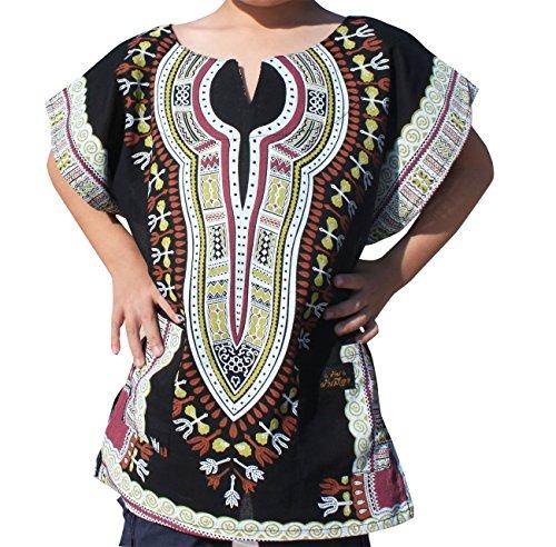 Raan Pah Muang RaanPahMuang Brand Thin Two Layer Gauze Cotton Childs Dashiki Boubou Kaftan Shirt, 8-10 Years, Black ()