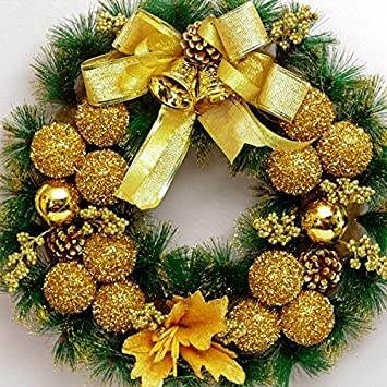 christmas garland for stairs fireplaces christmas garland decoration xmas festive wreath garland with 40cm golden wreath - Fireplace Christmas Decorations Amazon