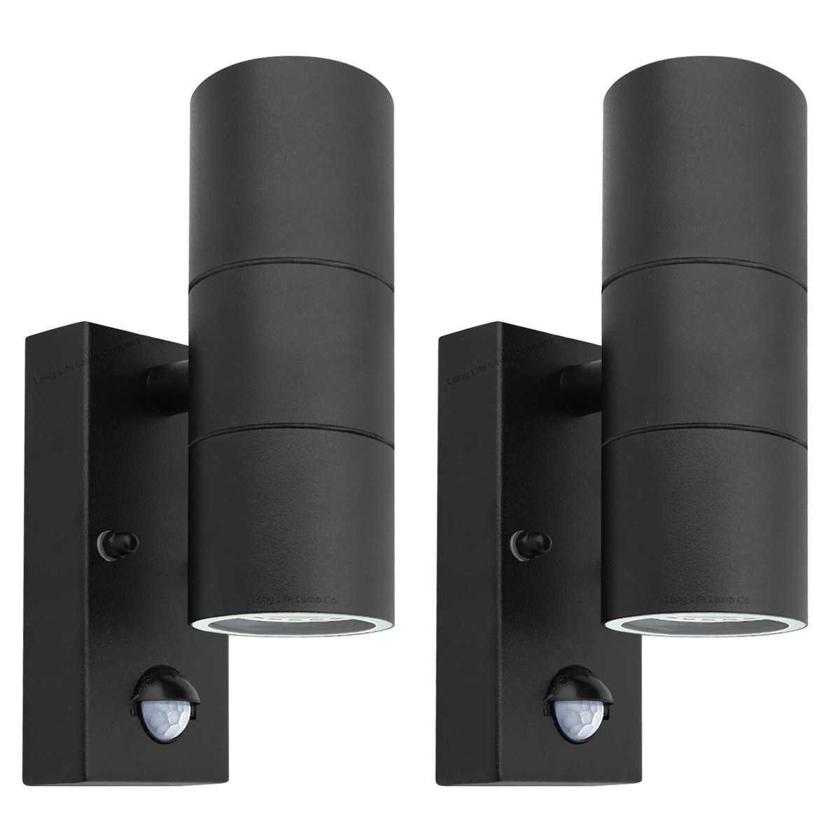 Black pir stainless steel double outdoor wall light with movement 2 x black pir stainless steel double outdoor wall light with movement sensor ip44 up aloadofball Images