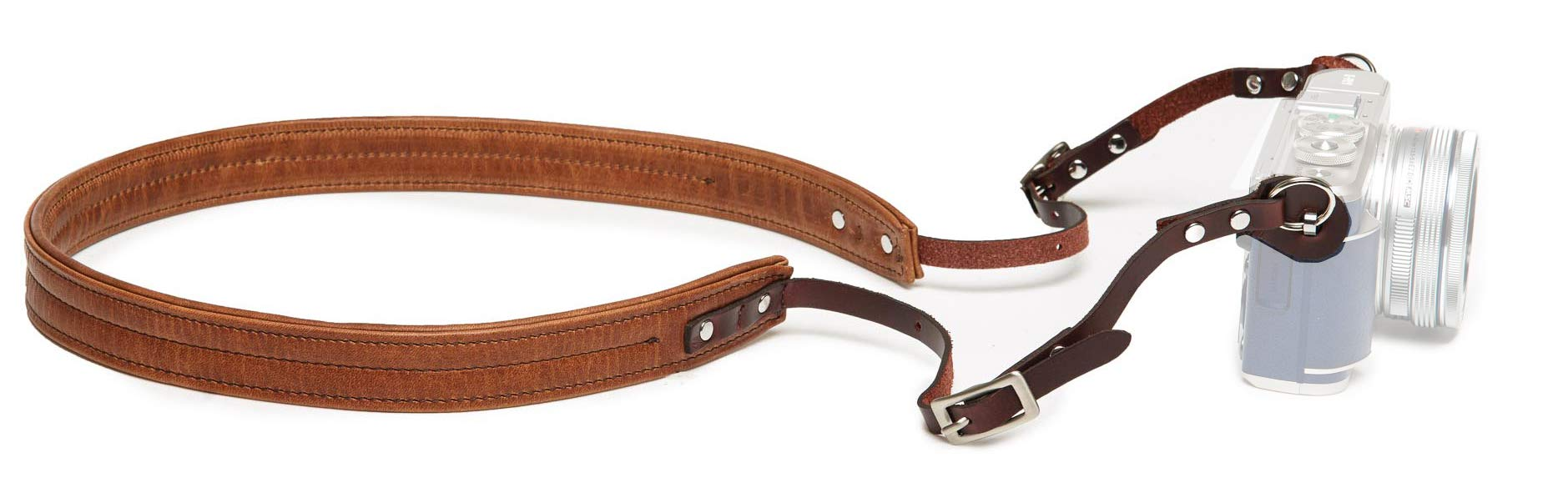 Ona The Oslo Padded Leather Camera Strap for Mirrorless and Film Cameras, Antique Cognac Brown