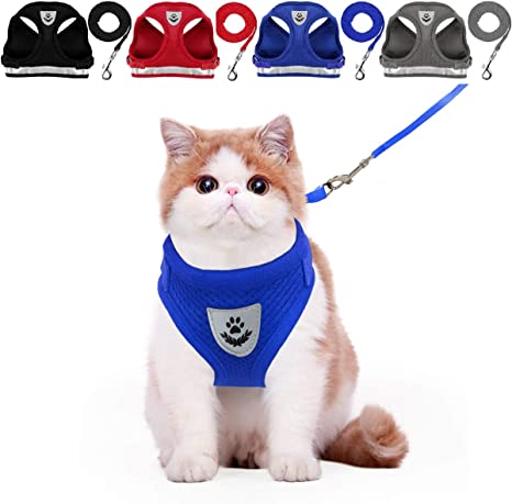 Black, XS Cat Vest Harness with Reflective Strap Cat Vest Harness and Small Dog Vest Harness for Walking Step in Adjustable Harness for Small Cats All Weather Mesh Harness