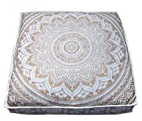 CRAFT PLACE Indian Mandala Floor Pillow Square Ottoman Pouf Daybed Oversized Cushion Cover Cotton Seating Ottoman Poufs Dog or Cat/Pets Bed 35'' (Pillow Cover Without Insert) AA-07