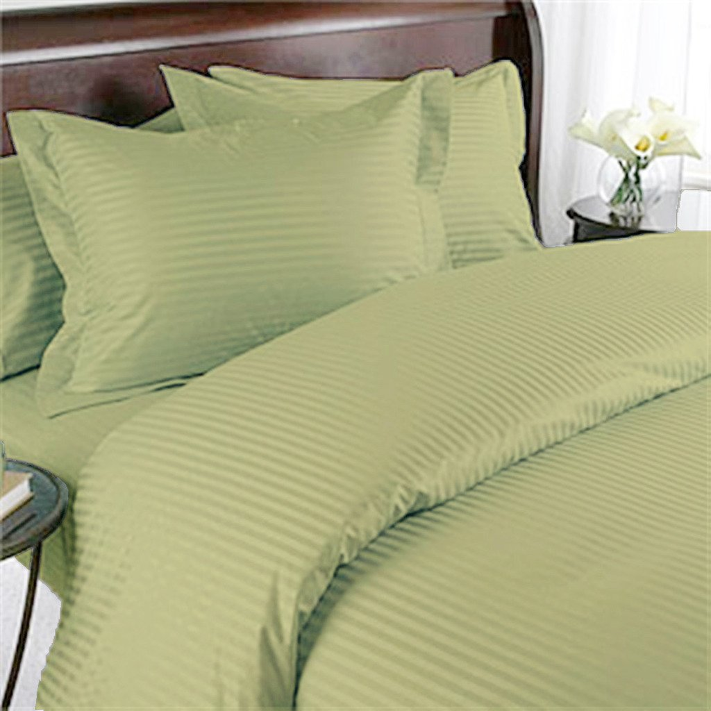 Luxurious Easy Care & Hypoallergenic High Quality 300 Thread Count Fine Percale Egyptian Cotton Sheet Set with 30inch Extra Deep Pocket, California King Size, Striped Sage Green