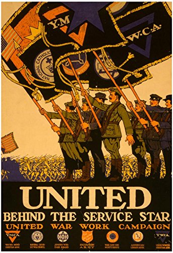 Laminated United Behind the War Service YMCA YWCA Vintage Ad Poster Print 13 x 19in