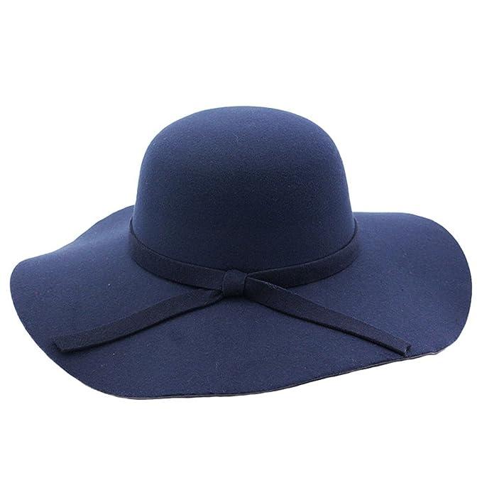Cappelli Tesa Larga Feltro Donna Elegante Berretti Autunno Inverno ... 9904617be9f8