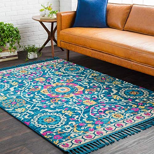 (Sutherlin Suzani Looped Blue 2' x 3' Rectangle Bohemian/Global 100% Polypropylene Navy/Sky Blue/Bright Yellow/Bright Pink/Ivory/Peach/Burnt Orange Area Rug )