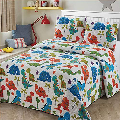 2 pc Twin Size Quilt Bedspread Kids/Teens Boys Girls DinosaursWhite Blue Green Orange Baby Dinosaours Multicolor Bedding New