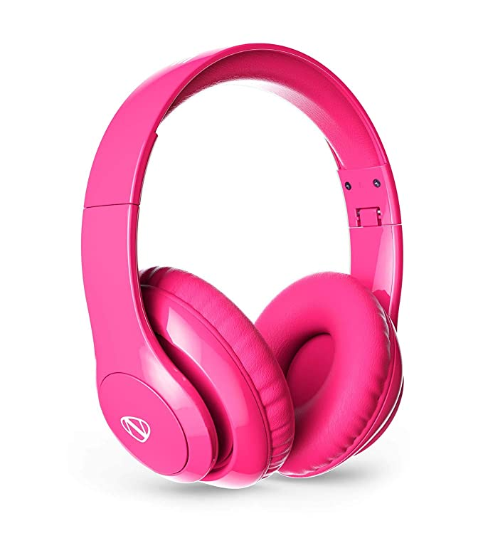 NCredible1 Bluetooth Wireless Headphones Hi-Fi Stereo Tuned by Nick Cannon, Portable Foldable Headset, Adjustable Padded Headband, Soft Ear Cushions, Built-in Mic, Ear Cup Controls (Neon Pink) - <strong>Nick Cannon</strong>