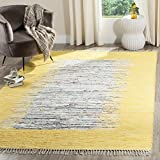 Safavieh Montauk Collection MTK711Q Handmade Flatweave Ivory and Yellow Cotton Area Rug (4' x 6')