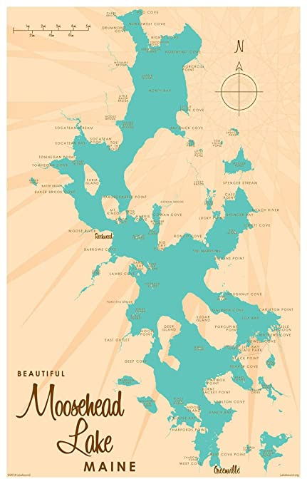 photograph relating to Printable Map of Maine called : Moosehead Lake Maine Map Classic-Design and style Artwork Print