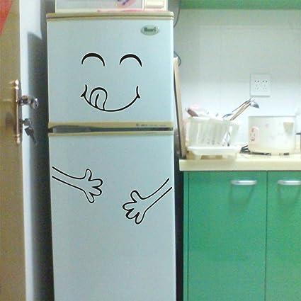 Pegatinas de pared Pegatina linda nevera Feliz delicioso cara cocina nevera refrigerador pared vinilo pegatinas Arte Tatuajes de pared Decoración del hogar ...
