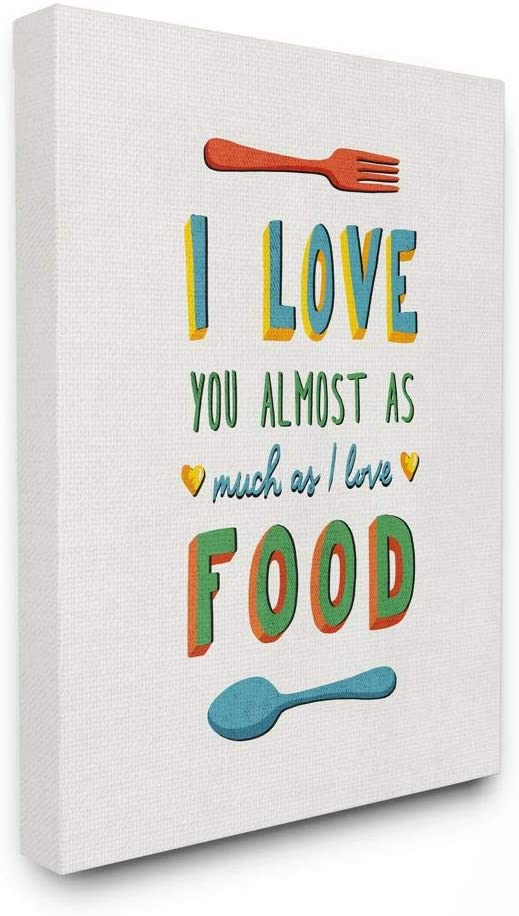 Stupell Industries I Love Food Funny Colorful Word, Design by Artist Ester Kay Wall Art, 16x20, Canvas