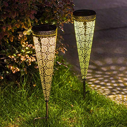 [Set of 2]TAKE ME Solar Pathway Lights Garden Outdoor,Waterproof Metal Decorative Stakes for Walkway,Yard,Lawn,Patio (Garden Set Light)