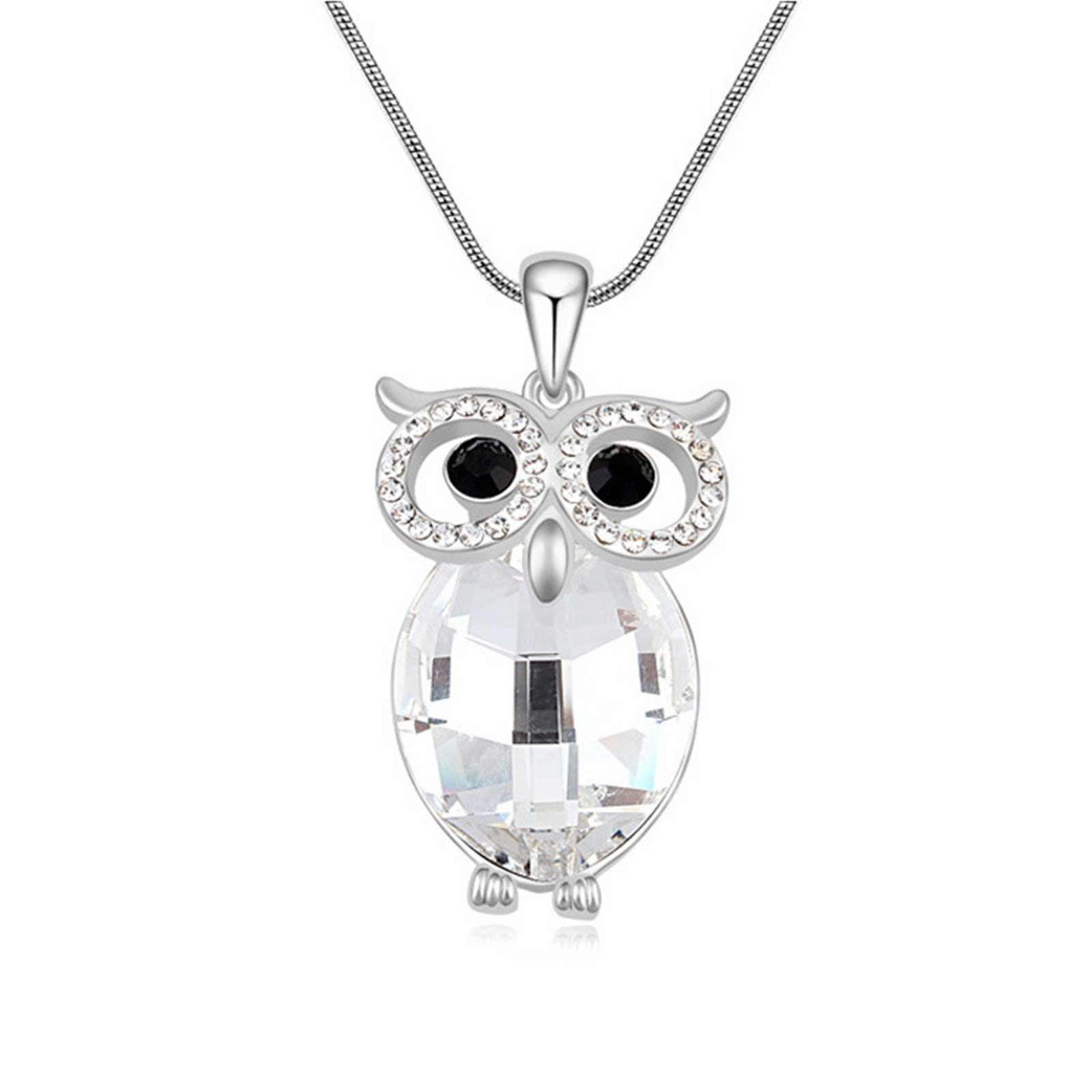 Aokarry White Crystal Belly OWL Pendant Necklace Platinium Plated 24+2 Inch