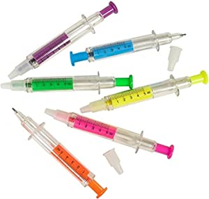Kicko Syringe Pens - 12 Pack Multi Neon Colors - Pretend Play, Doctor or Nurse Dress-up - for Children, Home and School Use, School and Office Supplies - Medical Graduation or Birthday Gifts