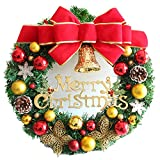 The Red Bow Golden Butterfly Christmas Wreath Garland Ornaments Arcades Hotel Christmas Decorations (35cm)