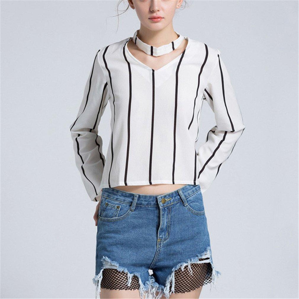 Otoño Blusa de Mujer Camisa de Moda Casual Gargantilla con Cuello en V Blusa Recortada Blanca de Manga Larga Blusas Femininas: Amazon.es: Ropa y accesorios