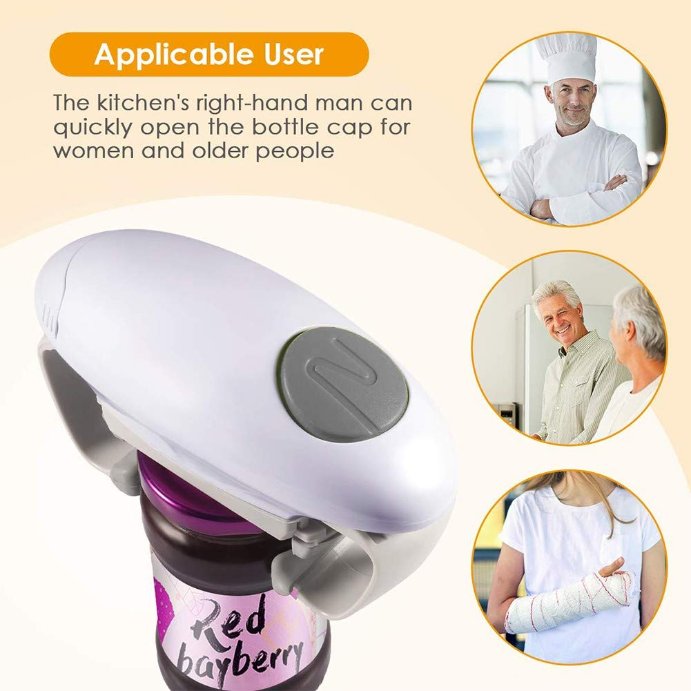 Battery Operated White Electric Can Opener Smooth Edge Mini Protable Automatic Can Opener One Touch Chefs Best Choice