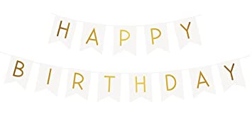 "Sterling James Co. Guirnalda Blanca ""Happy Birthday"" (Feliz Cumpleaños) con Letras Doradas Brillantes – Decoraciones, Regalos y Artículos de ..."