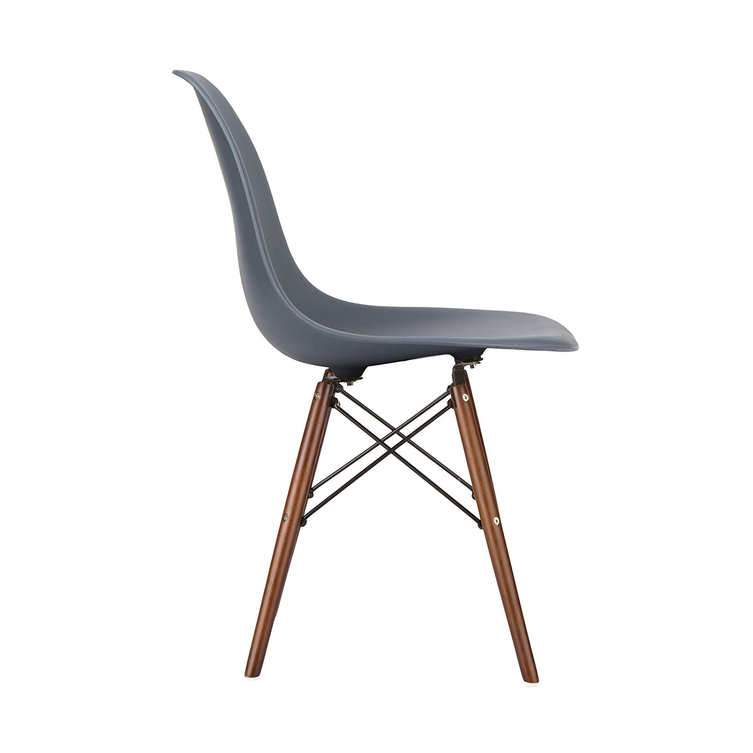 Amazon.com: Poly And Bark Eames Style Molded Plastic Dowel Leg Side Chair,  Grey, Set Of 2: Kitchen U0026 Dining
