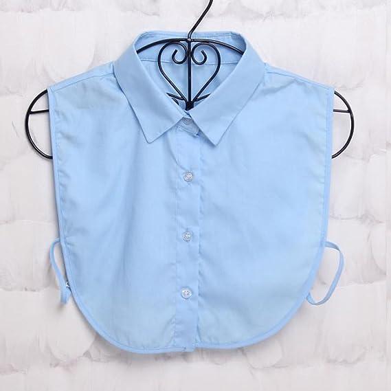 Qiuxiaoaa Falso Collar Mujer Salvaje Falso Cuello Camisa Encaje Solapa Desmontable Gargantilla Collar Camisa Color sólido Cuello Decorativo Suéter de Moda Cuello Redondo Cuello Azul: Amazon.es: Hogar