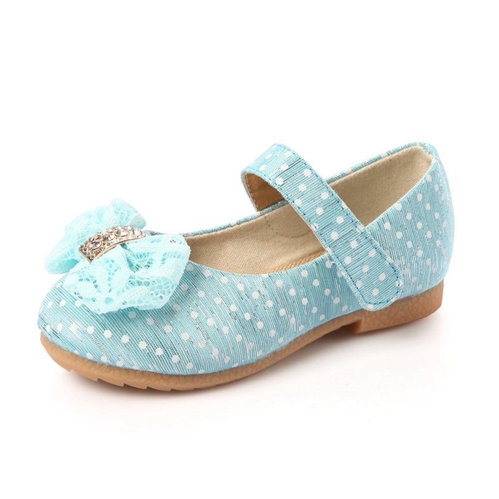 Toddler Little Girls Cute Lace Bowknot Polka Dot Breathable Canvas Dress Mary Jane Ballet Flat Shoes