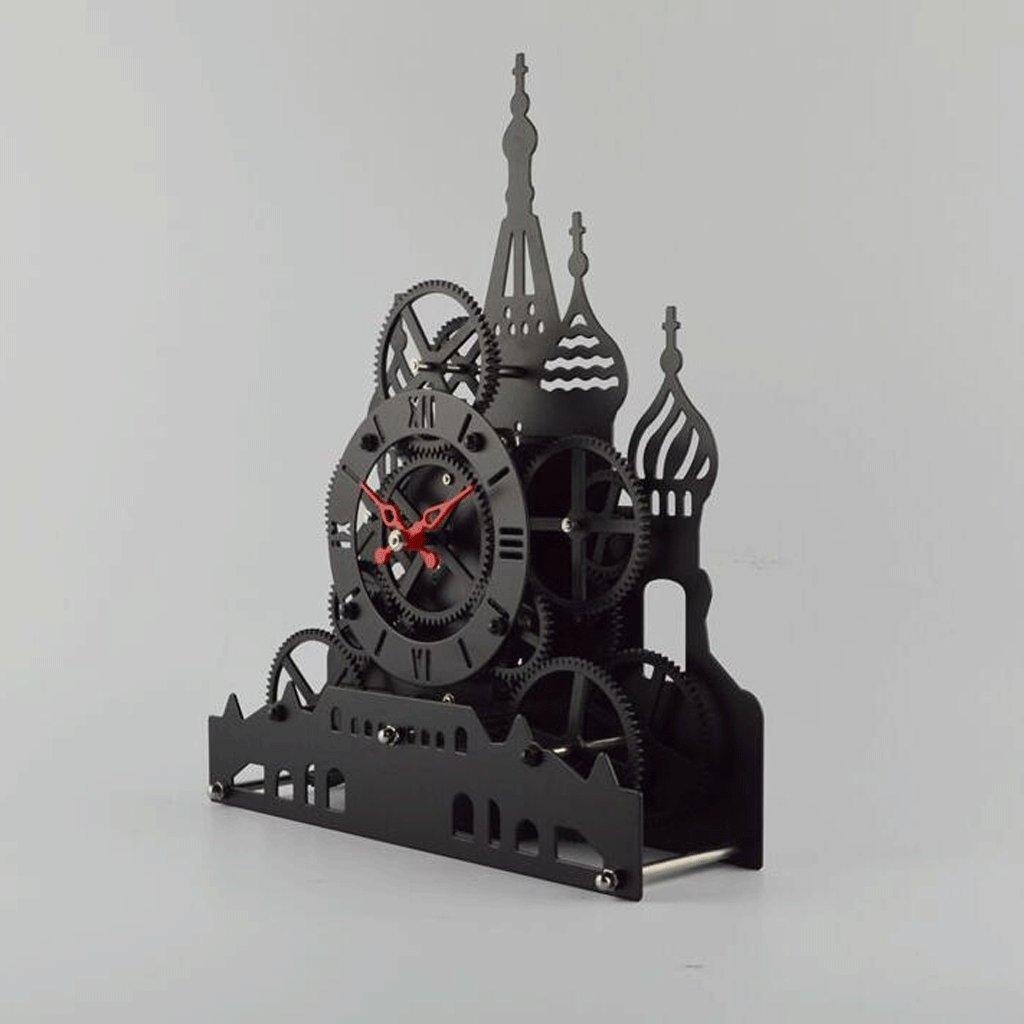 WTL 置き時計 ギア時計と時計クリエイティブメカニカル時計時計、フリップ時計自動ブロック装飾 B07C131FJN