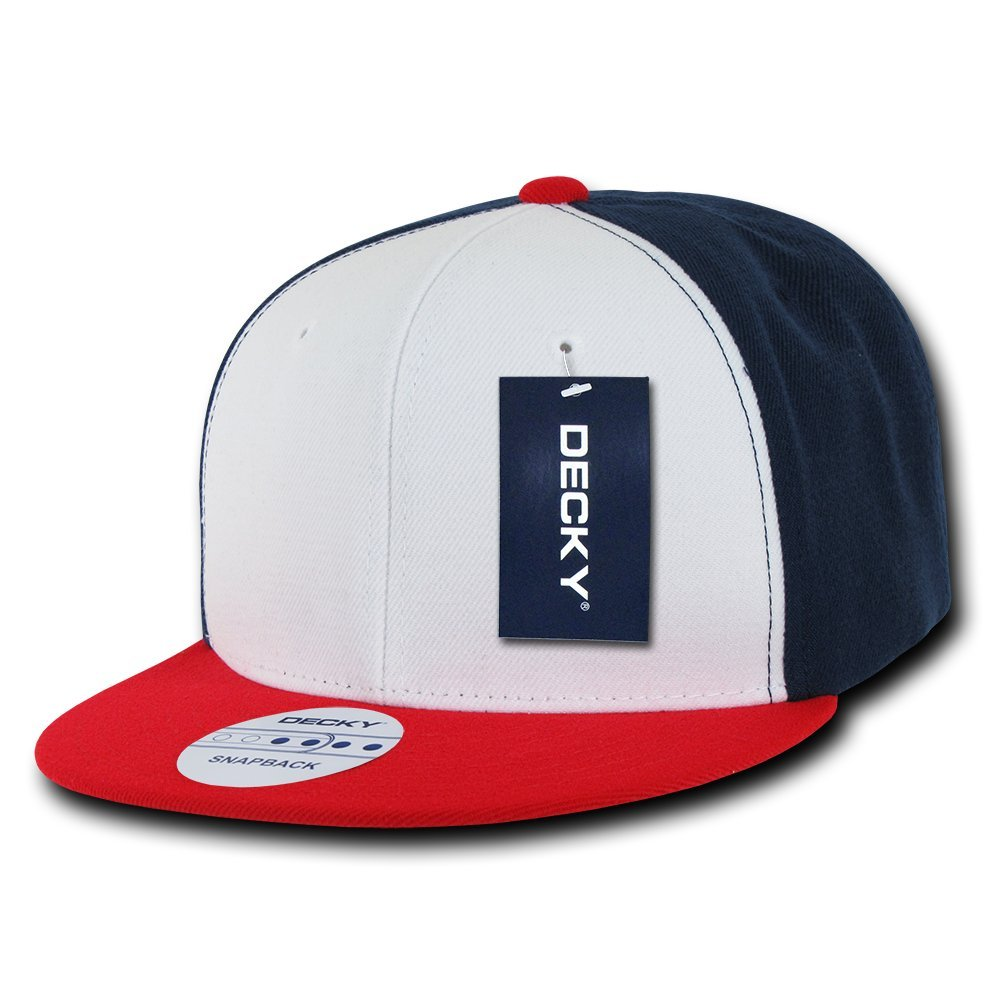 Amazon.com  DECKY 3 Tone Flat Bill Snapbacks 563f8c604c7b