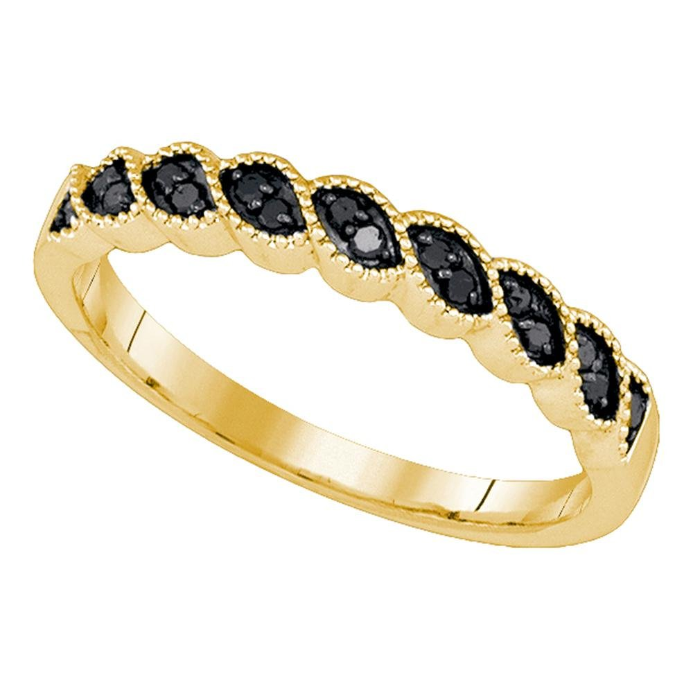 10k Yellow Gold Womens Black Diamond Wedding Band Anniversary Ring Stackable Style Curve Design 1/5 ctw Size 6.5