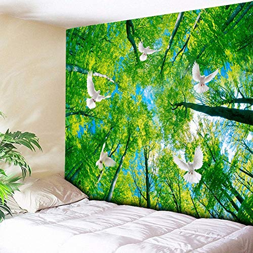GUDOJK Tapestry Flying Pigeon Green Forest Tapestry Hippie Wall Hanging Bohemian Fabric Tapestries Oil Painting Trees Home Decor 130cmx150cm ()