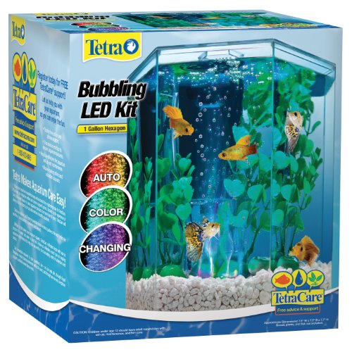 Tetra 29040 Hexagon Aquarium Kit with LED Bubbler, 1-Gallon (Kit Goldfish)