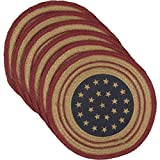 VHC Brands Seasonal Americana Tabletop & Kitchen-Liberty Stars Red Flag Round Jute Tablemat Set of 6