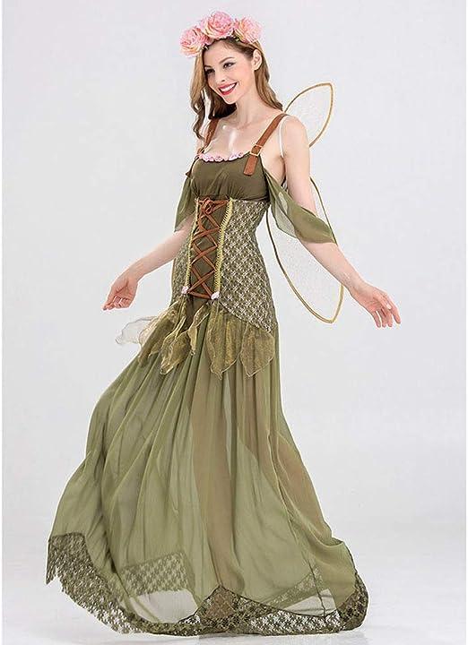 JJAIR Disfraz de Halloween para Mujer, Vestido de Hada de Flores ...