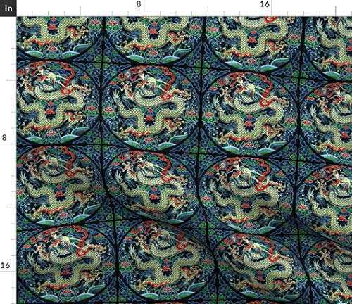 Spoonflower Royal Green Golden Thrones Fabric - Dragons Kimono Oriental Japanese Chinese Embroidery by Raveneve Printed on Satin Fabric by The Yard