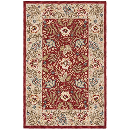 Safavieh Chelsea Collection HK140C Hand-Hooked Red and Ivory Premium Wool Area Rug 2 9 x 4 9