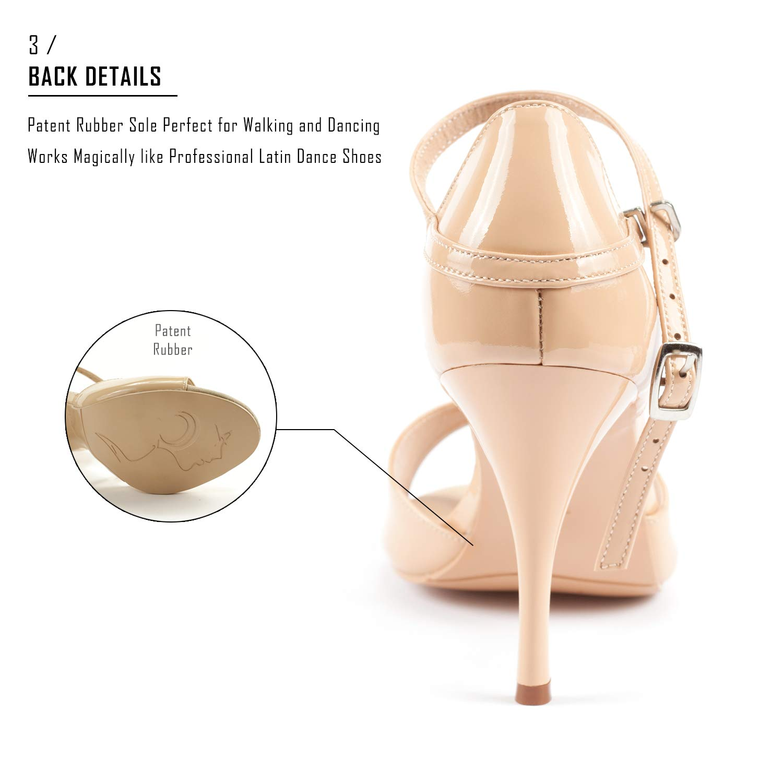 Dancine Nora Lambskin Leather Hybrid Evening High Heels,Wedding Ballroom Bachata Dance Shoes.Patent Rubber Out Sole,3.3//8.5cm Heel