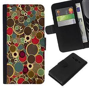 // PHONE CASE GIFT // Moda Estuche Funda de Cuero Billetera Tarjeta de crédito dinero bolsa Cubierta de proteccion Caso Samsung Galaxy A3 / Circle Pattern /