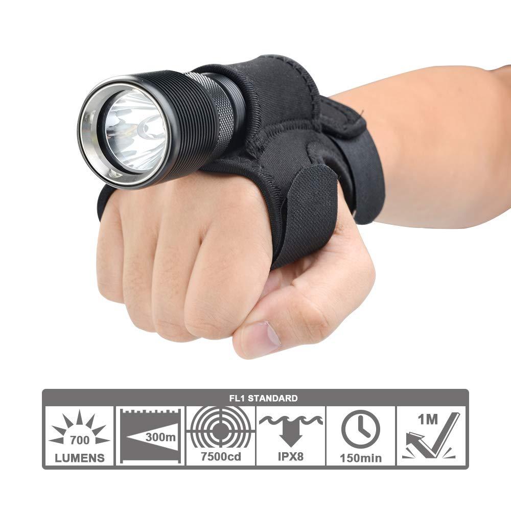TrustFire DF008//DF008 KIT Tauchlampe Unterwasser Taschenlampe 700 Lumen mit CREE XM-L2 LED Wasserdicht IPX8 3 Modi f/ür Taucher 1 X Ladeger/ät und 1 X Handschuhe nur im Kit enthalten 1 X 26650 Akku