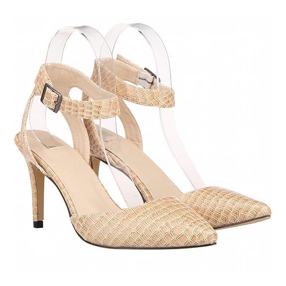Zhuhaixmy Damen Synthetik Krokodil Leder High Heels Sandalen Knöchel Gurt Single Schuhe mZy8Bjq