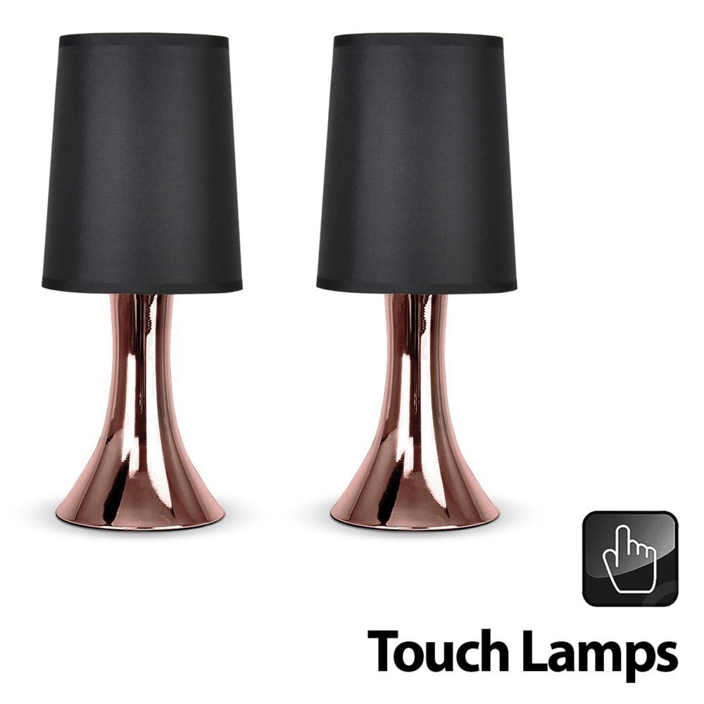Pair Of - Modern Copper Effect Trumpet Touch Table Lamps With ...