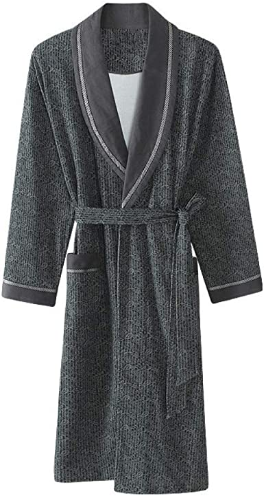 Otoño Albornoces para Hombre Albornoz De Algodón Manga Larga Simple Kimono Abrigo De Albornoz Masculino Cálido: Amazon.es: Ropa y accesorios
